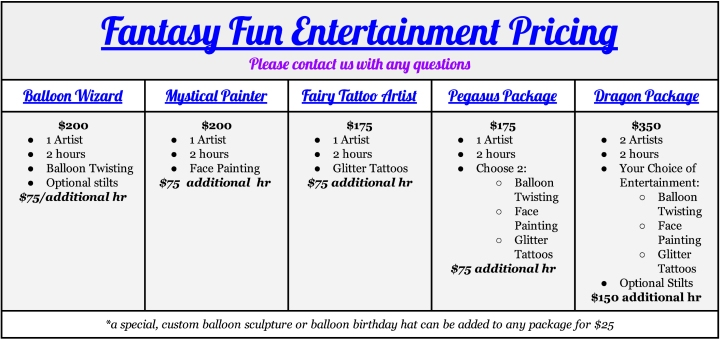 Fantasy Fun Entertainment Pricing - Google Docs